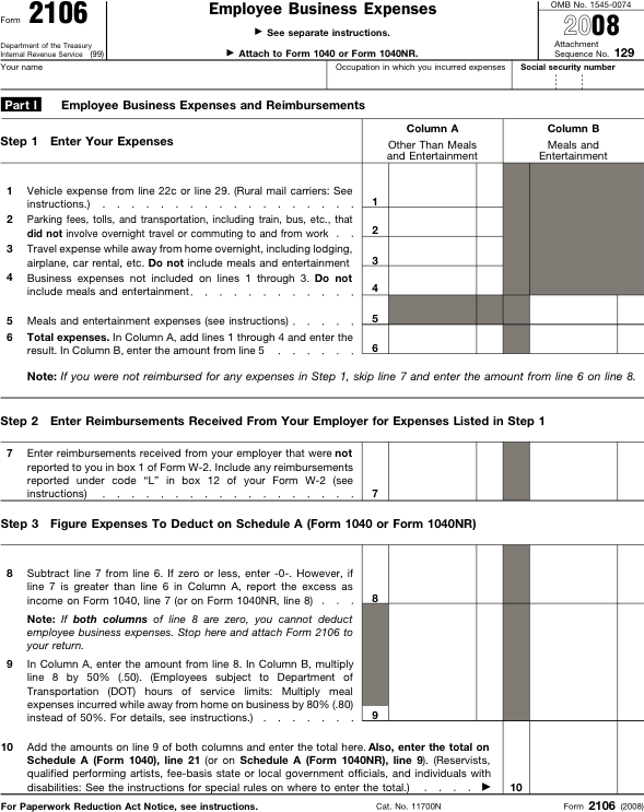 Sample Irs Form 2106